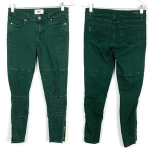 PAIGE Green Moto Stretch Skinny Jeans Ankle Zip 27
